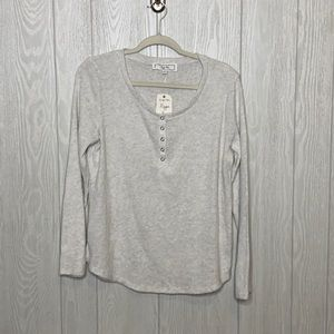 Light grey supper soft ribbed Henley